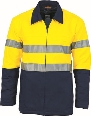 DNC Workwear-DNC HiVis Two Tone Protector Drill Jacket with 3M 8910 R/Tape > 311 gsm Heavyweight-XS / Yellow/Navy-Uniform Wholesalers - 2