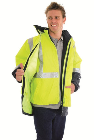 DNC Workwear-DNC HiVis 4 in 1 Two Tone Breathable Jacket with Vest and 3M R/Tape--Uniform Wholesalers - 1