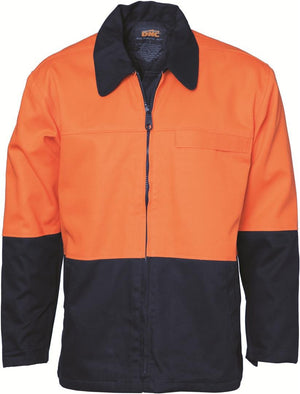 DNC Workwear-DNC HiVis Two Tone Protector Drill Jacket > 311 gsm Heavyweight-XS / Orange/Navy-Uniform Wholesalers - 2