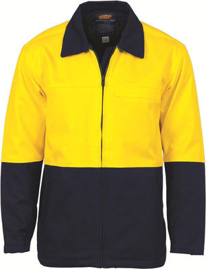 DNC Workwear-DNC HiVis Two Tone Protector Drill Jacket > 311 gsm Heavyweight-XS / Yellow/Navy-Uniform Wholesalers - 3