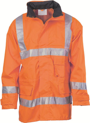 DNC Workwear-DNC HiVis D/N Breathable Rain Jacket with 3M 8906 R/Tape > 300D-S / Orange-Uniform Wholesalers - 3