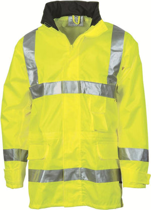 DNC Workwear-DNC HiVis D/N Breathable Rain Jacket with 3M 8906 R/Tape > 300D-M / Yellow-Uniform Wholesalers - 2