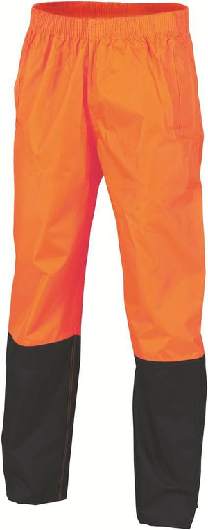 DNC Workwear-DNC HiVis Two Tone Lightweight Rain Trousers > 190D-S / Orange/Navy-Uniform Wholesalers - 1