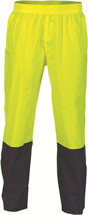 DNC Workwear-DNC HiVis Two Tone Lightweight Rain Trousers > 190D-L / Yellow/Navy-Uniform Wholesalers - 2