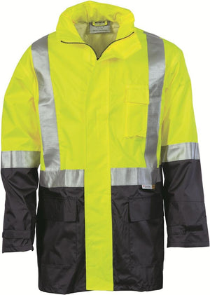 DNC Workwear-DNC HiVis Two Tone Lightweight Rain Jacket with 3M R/Tape > 190D-S / Yellow/Navy-Uniform Wholesalers - 2