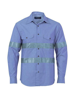 DNC Cotton Chambray Shirt With Generic R/Tape - Long Sleeve (3889)