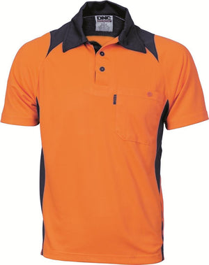 DNC Workwear-DNC HiVis Two Tone Action Polo S/S > 175 gsm Polyester Micromesh-Orange/Navy / XS-Uniform Wholesalers - 2