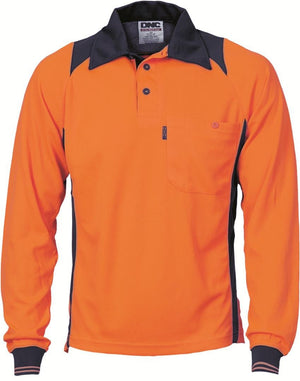 DNC Workwear-DNC HiVis Two Tone Action Polo L/S > 175 gsm Polyester Micromesh-XS / Orange/Navy-Uniform Wholesalers - 2