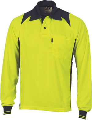 DNC Workwear-DNC HiVis Two Tone Action Polo L/S > 175 gsm Polyester Micromesh-XS / Yellow/Navy-Uniform Wholesalers - 3