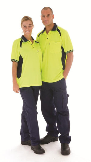 DNC Workwear-DNC HiVis Cool-Breeze Contrast Mesh Panel S/S Polo Shirt, S/S--Uniform Wholesalers - 1