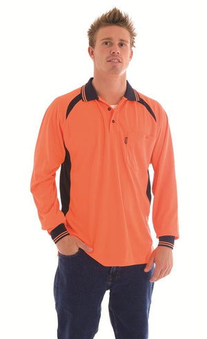 DNC Workwear-DNC HiVis Cool-Breeze Contrast Mesh Panel L/S Polo Shirt--Uniform Wholesalers - 1