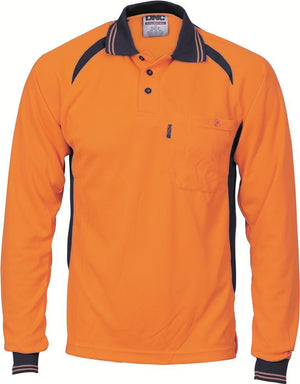 DNC Workwear-DNC HiVis Cool-Breeze Contrast Mesh Panel L/S Polo Shirt-XS / Orange/Navy-Uniform Wholesalers - 2