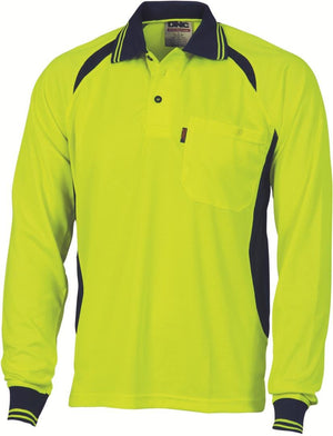 DNC Workwear-DNC HiVis Cool-Breeze Contrast Mesh Panel L/S Polo Shirt-XS / Yellow/Navy-Uniform Wholesalers - 3
