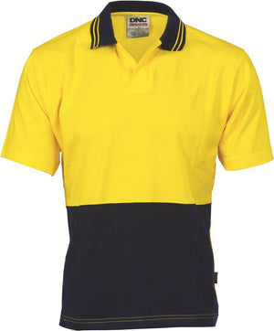 DNC Workwear-DNC HiVis Cool Breeze Cotton Jersey S/S Food Industry Polo-Yellow/Navy / XS-Uniform Wholesalers - 2