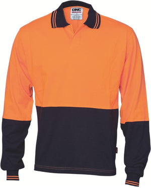 DNC Workwear-DNC HiVis Cool Breeze Cotton Jersey L/S Food Industry Polo-XS / Orange/Navy-Uniform Wholesalers - 1