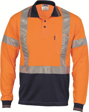 DNC Workwear-DNC HiVis D/N Cool Breathe Polo Shirt with Cross Back R/Tape - Long Sleeve-Orange/Navy / XS-Uniform Wholesalers - 2