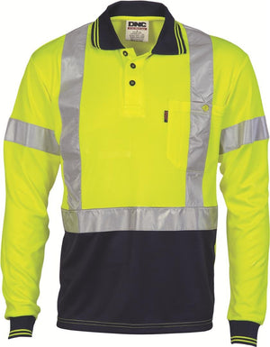 DNC Workwear-DNC HiVis D/N Cool Breathe Polo Shirt with Cross Back R/Tape - Long Sleeve-Yellow/Navy / XS-Uniform Wholesalers - 3