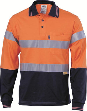 DNC Workwear-DNC HiVis Cool-Breeze Cotton Jersey L/S Polo with 3M R/T-M / Orange/Navy-Uniform Wholesalers - 1