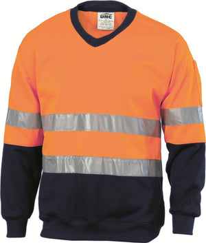 DNC Workwear-DNC HiVis Fleecy Sweat Shirt W/Generic Ref. Tape V-Neck-Orange/Navy / L-Uniform Wholesalers - 1