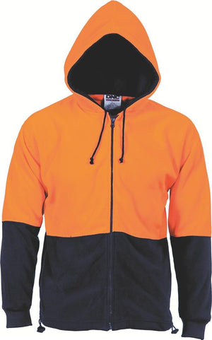 DNC Workwear-DNC HiVis Two Tone Full Zip Polar Fleece Hoodie-S / Orange/Navy-Uniform Wholesalers - 2
