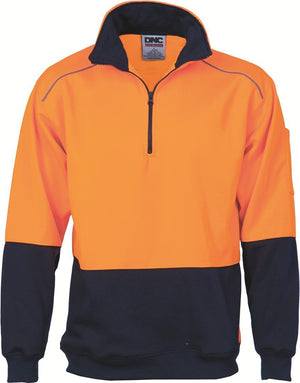 DNC Workwear-DNC HiVis Two Tone 1/2 Zip Reflective Piping Sweat Shirt-Orange/Navy / S-Uniform Wholesalers - 1