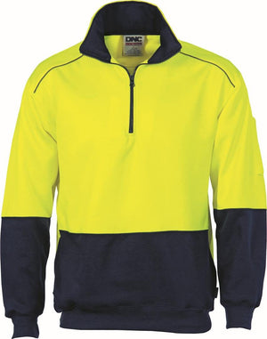 DNC Workwear-DNC HiVis Two Tone 1/2 Zip Reflective Piping Sweat Shirt-Yellow/Navy / S-Uniform Wholesalers - 2