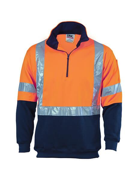 DNC HiVis 1/2 Zip Fleecy with 'X' Back & additional Tape on Tail (3930)