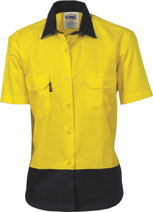 DNC Workwear-DNC Ladies HiVis Two Tone Cotton S/S Drill Shirt-Yellow/Navy / 12-Uniform Wholesalers - 2