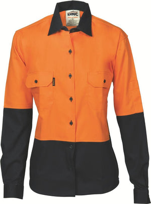 DNC Workwear-DNC Ladies HiVis Two Tone Cotton L/S Drill Shirt-8 / Orange/Navy-Uniform Wholesalers - 1