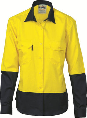DNC Workwear-DNC Ladies HiVis Two Tone Cotton L/S Drill Shirt-8 / Yellow/Navy-Uniform Wholesalers - 2