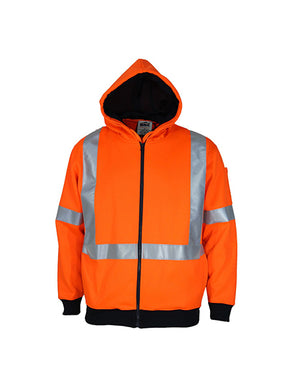 "DNC Hi-vis Full Zip ""X"" Back Fleecy Hoodie (3935)"