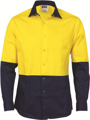 DNC Workwear-DNC HiVis Food Industry Cool-Breeze Cotton Shirt - Long Sleeve-XS / Yellow/Navy-Uniform Wholesalers - 2