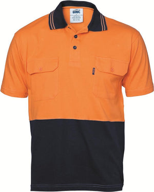 DNC Workwear-DNC HiVis Cool-Breeze 2 Tone S/S Cotton Polo with Twin Pocket-Orange/Navy / XS-Uniform Wholesalers - 1