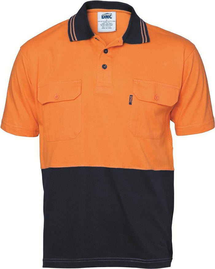 DNC Hivis Cool-breeze 2 Tone Cotton Jersey Polo Shirt With Twin Chest Pocket - S/S (3943)