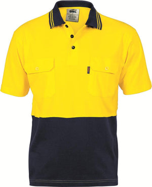 DNC Workwear-DNC HiVis Cool-Breeze 2 Tone S/S Cotton Polo with Twin Pocket-Yellow/Navy / S-Uniform Wholesalers - 2