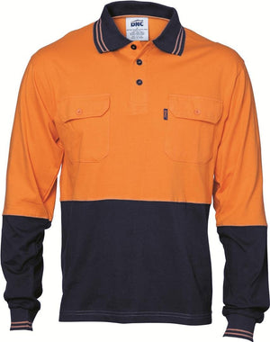 DNC Workwear-DNC HiVis Cool-Breeze 2 Tone L/S Cotton Polo with Twin Pocket-Orange/Navy / M-Uniform Wholesalers - 1