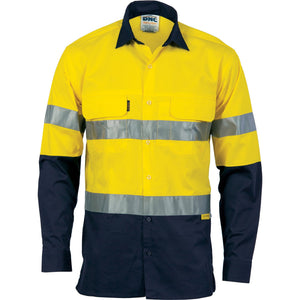 DNC Workwear-DNC 2Tone 3 Way Cool Breeze Taped L/S-Yellow/Navy / XXS-Uniform Wholesalers - 2