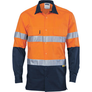 DNC Workwear-DNC 2Tone 3 Way Cool Breeze Taped L/S-Orange/Navy / XXS-Uniform Wholesalers - 1