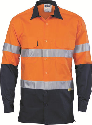 DNC Workwear-DNC HiVis 3 Way Cool-Breeze L/S Cotton Shirt with 3M R/T-XS / Orange/Navy-Uniform Wholesalers - 2