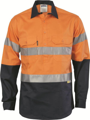 DNC Workwear-DNC HiVis Cool-Breeze Close Front L/S Cotton Shirt with 3M R/T-S / Orange/Navy-Uniform Wholesalers - 1
