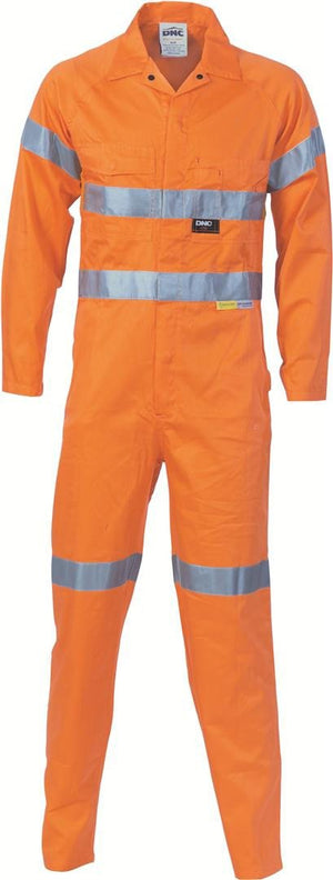 DNC Workwear-DNC HiVis Cool-Breeze Orange L.Weight Cotton Coverall with 3M R/T-77R / Orange-Uniform Wholesalers