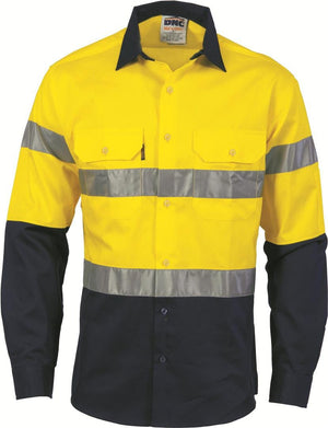 DNC Workwear-DNC HiVis Two Tone Cool-Breeze Cotton Shirt with Generic R/Tape, L/S-XS / Yellow/Navy-Uniform Wholesalers - 2