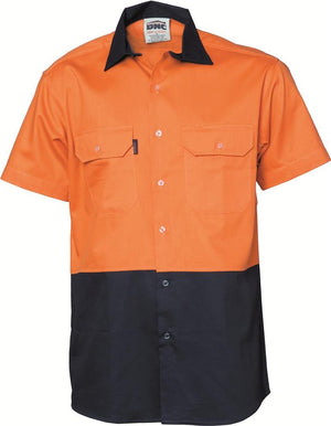 DNC Workwear-DNC HiVis 2 Tone Cotton Drill S/S Vented Shirt-XS / Orange/Navy-Uniform Wholesalers - 1