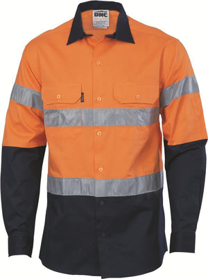 DNC Workwear-DNC HiVis D/N 2 Tone Drill Shirt with Reflective Tape, Long Sleeve-S / Orange/Navy-Uniform Wholesalers - 1
