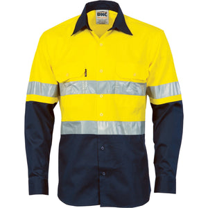 DNC Workwear-DNC HiVis Cool-Breeze Vertical Vented L/S Cotton Shirt with 3M R/T-XS / Yellow/Navy-Uniform Wholesalers - 2