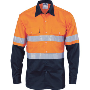 DNC Workwear-DNC HiVis Cool-Breeze Vertical Vented L/S Cotton Shirt with 3M R/T-XS / Orange/Navy-Uniform Wholesalers - 3