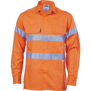 DNC Workwear-DNC HiVis Cool-Breeze L/S Cotton Shirt with 3M Value R/T-S / Orange-Uniform Wholesalers - 2