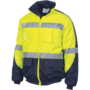 DNC Workwear-DNC HiVis D/N Contrast Bomber Jacket > 200D-Yellow/Navy / S-Uniform Wholesalers - 2