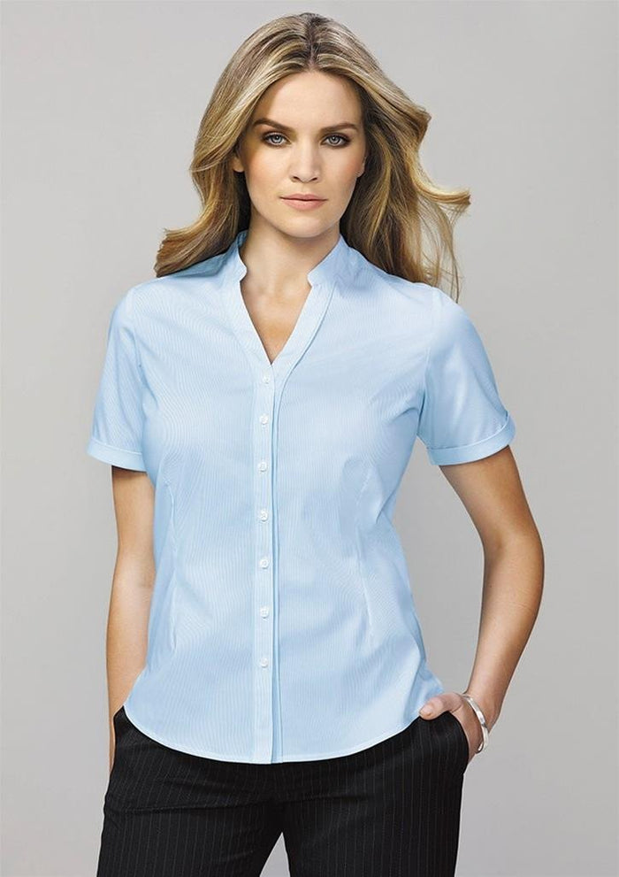 Biz Corporate Bordeaux Ladies Short Sleeve Shirt (40112)