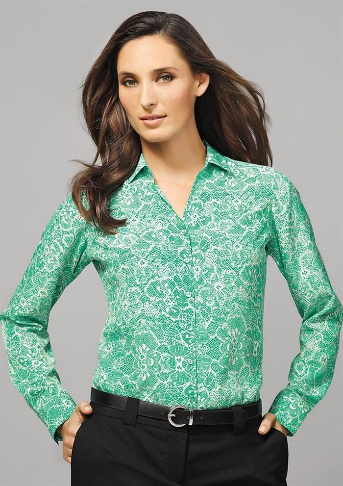 Biz Corporates Solanda Ladies Print Long Sleeve Shirt (40510)